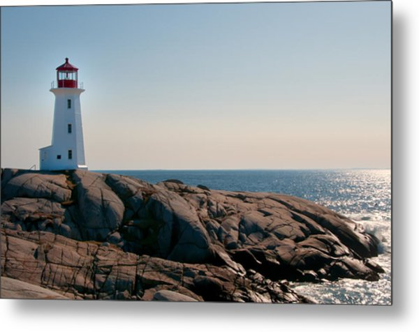 Peggy's Cove Lighthouse Metal Print by Sandra Adamson