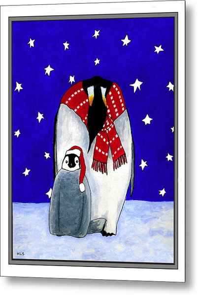 Penguin's First Christmas Metal Print by Marla Saville