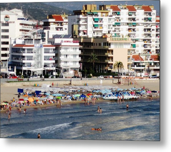 Peniscola Beach By Mediterranean Sea In Spain Metal Print