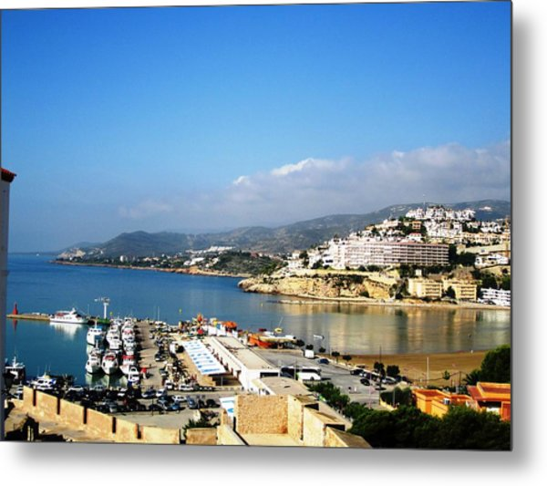 Peniscola Marina Water Reflection Sea View At The Mediterranean Water Front Homes In Spain Metal Print