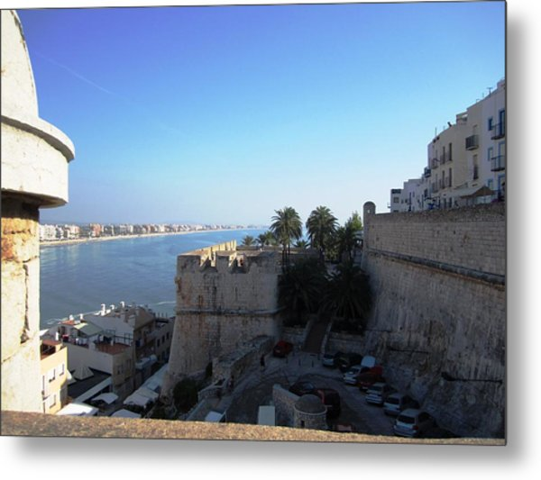 Peniscola Panoramic View At The Mediterranean Sea In Spain Metal Print
