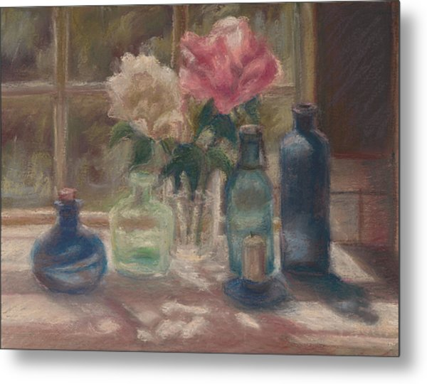 Peonies And Bottles Metal Print by Rita Bentley