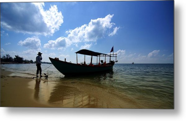 People And Boat Metal Print
