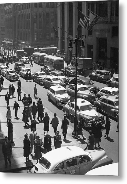 People On Busy City Street W/traffic Metal Print by George Marks
