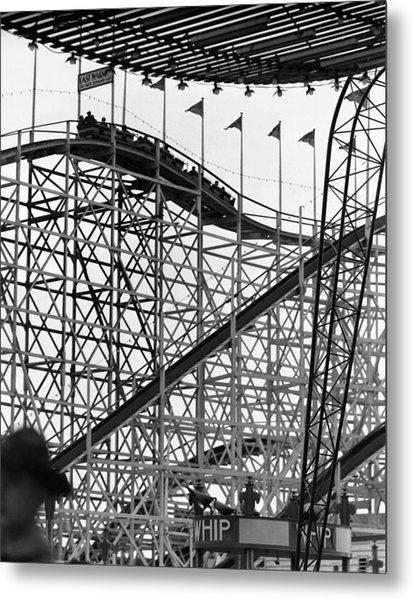 People On Roller Coaster Metal Print by George Marks