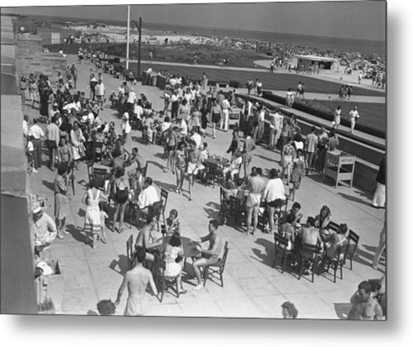 People Sitting At Tables By Beach, (b&w), Elevated View Metal Print by George Marks