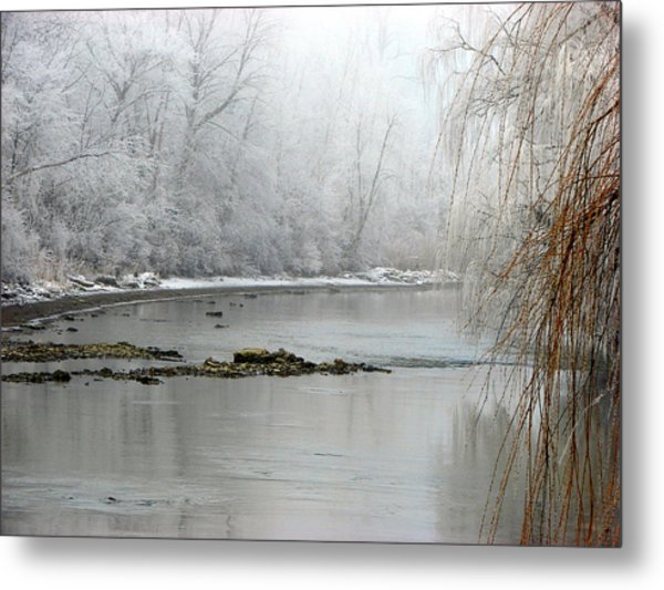 Perch Creek Hoar Frost Metal Print