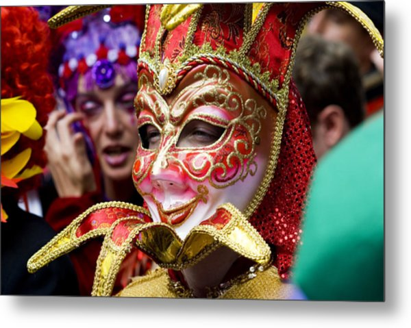 Person In Venetian Mask, New Orleans Mardi Gras Metal Print by Ray Laskowitz