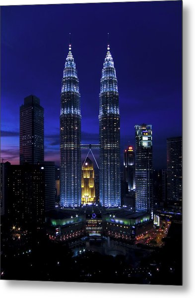 Petronas Towers In Kl Malaysia At Twilight. Metal Print