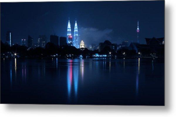 Petronas Towers Taken From Lake Titiwangsa In Kl Malaysia. Metal Print