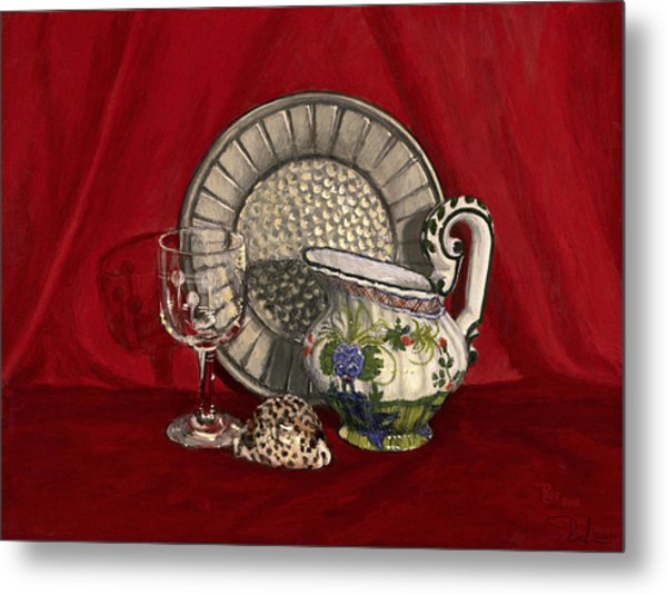 Pewter Dish With Red Cloth. Metal Print
