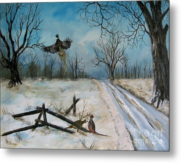 Pheasants In The Snow Metal Print