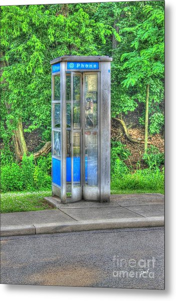Phone Booth At Eden Park Metal Print
