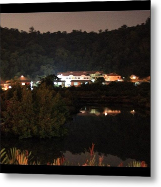 Photo Taken At Night For A Mansion By Metal Print