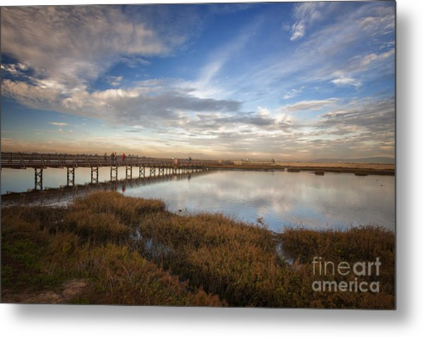 Photographers On Bridge At Sunset Metal Print