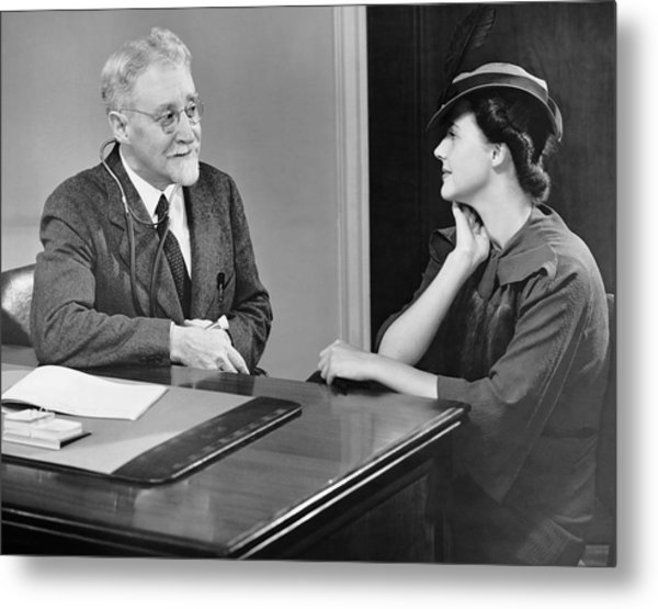 Physician Talking To Patient Metal Print by George Marks