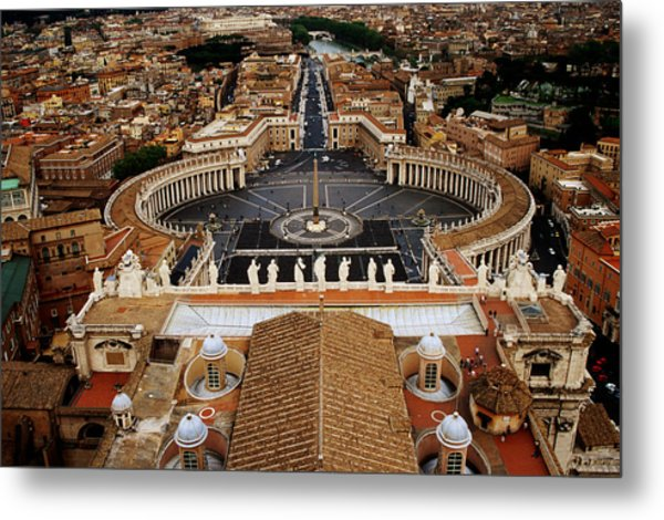 Piazza San Pietro From St Peter Cathedral's Dome, Rome, Italy Metal Print by Witold Skrypczak