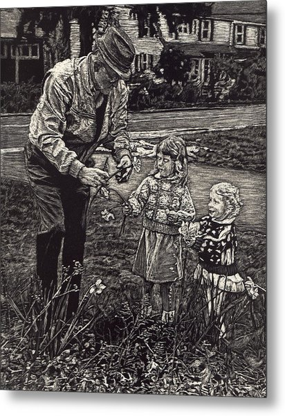 Picking Flowers With Grandpa Metal Print by Robert Goudreau