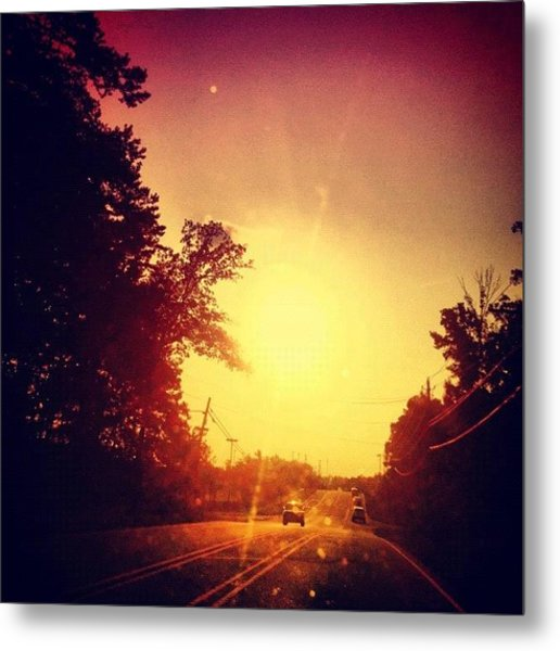 Picking Up Dinner #driving #sunset #sun Metal Print