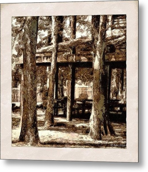Picnic Grove - Painted & Block Printed Metal Print