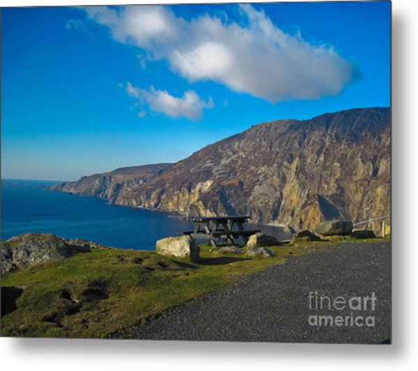 Picnic Time At Slieve League Ireland Metal Print by Black Sun Forge
