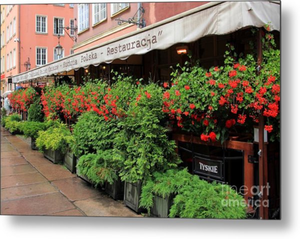 picturesque restaurant terrace in Gdansk Poland Metal Print by Sophie Vigneault