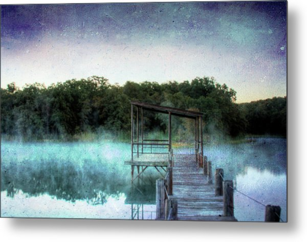Pier In The Mist Metal Print