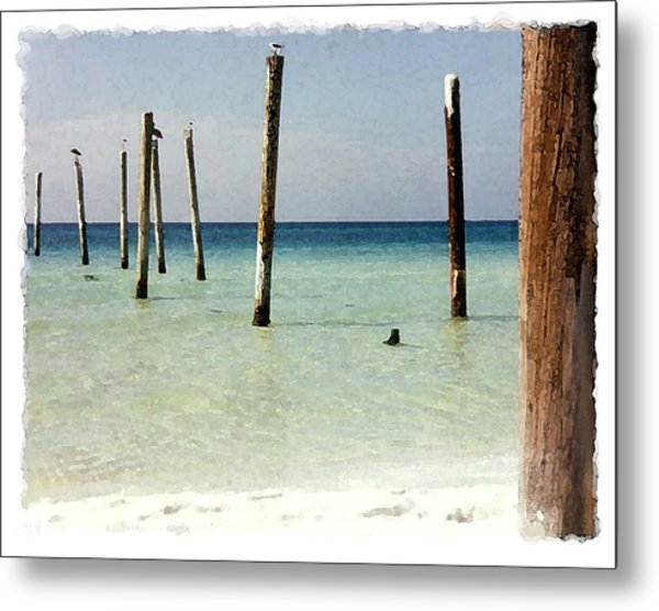 Pier Pilings Destin Fla Metal Print by Brenda Leedy