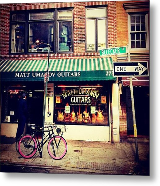 Pink Bicycle - New York City Metal Print