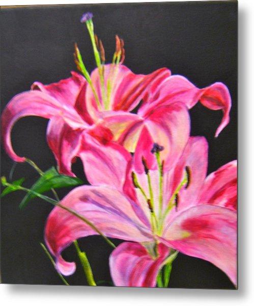 Pink Day Lilies Metal Print