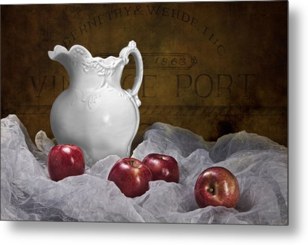 Pitcher With Apples Still Life Metal Print