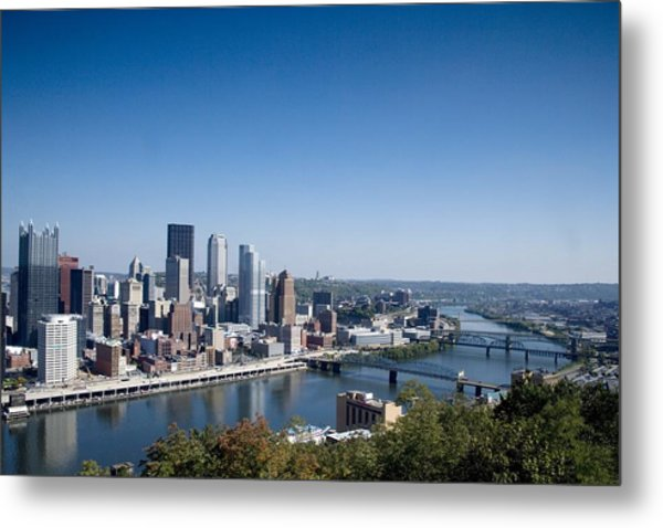 Pittsburgh Skyline And Allegheny River Metal Print by Everett