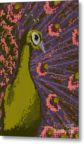 Pixel Peacock In Pink Metal Print