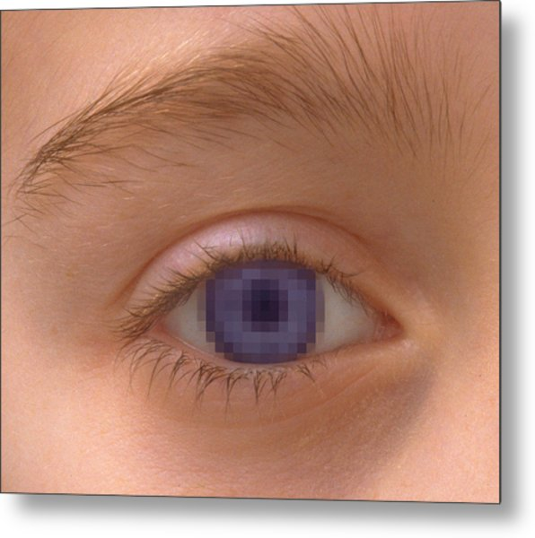 Pixellated Eye Metal Print