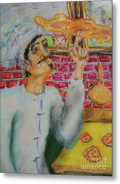 Pizza Chef Metal Print by Emily Michaud