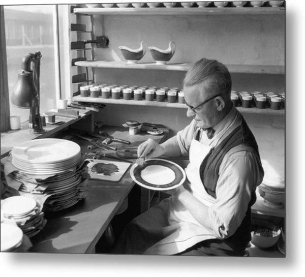Plate Painter Metal Print by L Blandford