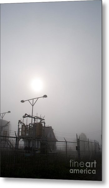 Platform At Petrocor In The Fog Metal Print by Gary Chapple
