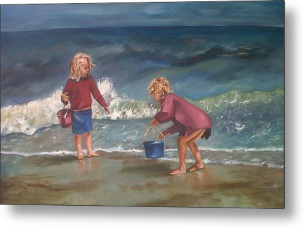 Playtime At The Beach Metal Print by Elani Van der Merwe
