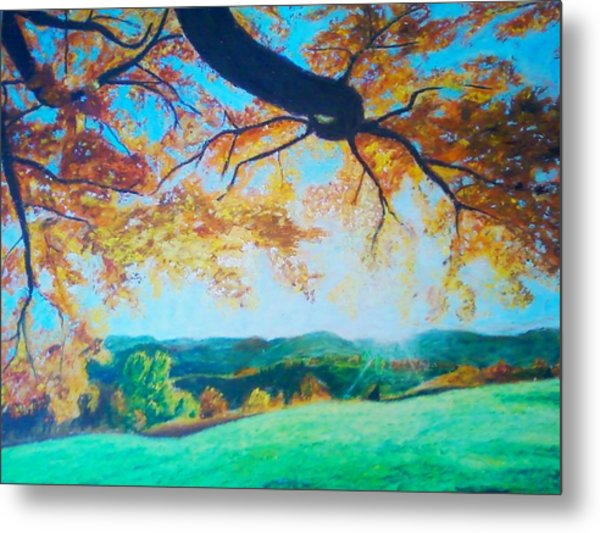 Pleasant Valley In Fall Metal Print by Samuel McMullen