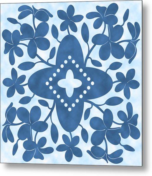 Plumeria Hawaiian Quilt Block Metal Print