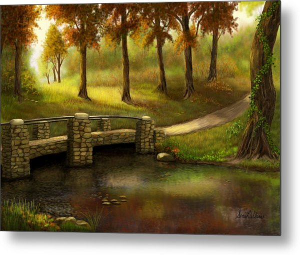 Pond Crossing Metal Print
