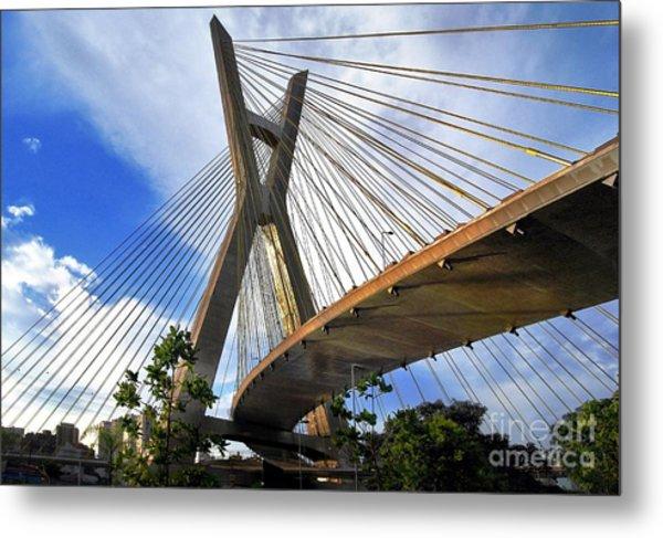 Ponte Estaiada Octavio Frias De Oliveira Ao Cair Da Tarde Metal Print