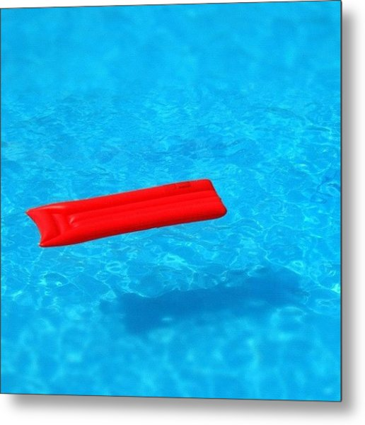 Pool - Blue Water And Red Airbed Metal Print