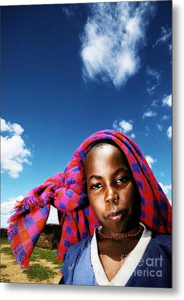 Poor African Child Outdoor Portrait Metal Print by Anna Om