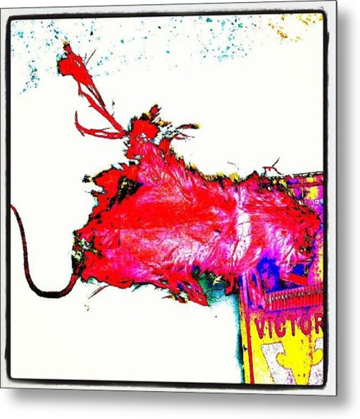 Pop Art Candy Color Mouse In Trap Metal Print