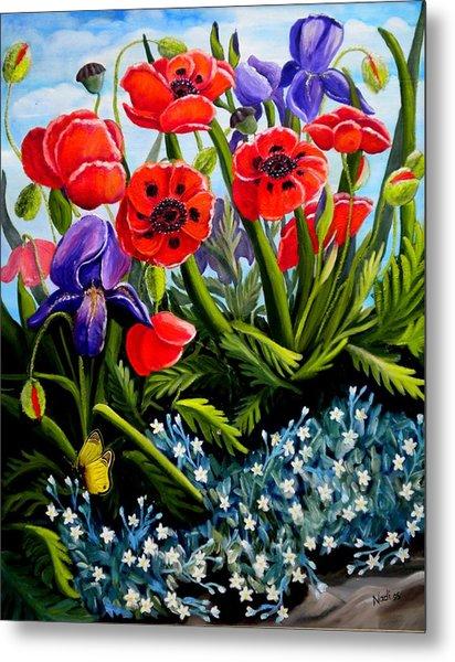Poppies And Irises Metal Print