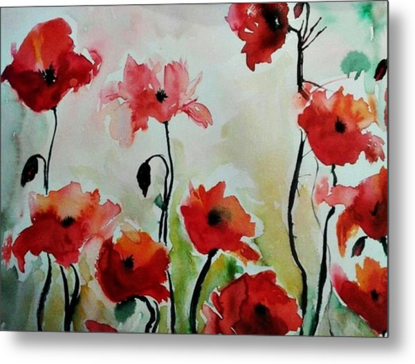 Poppies Meadow - Abstract Metal Print