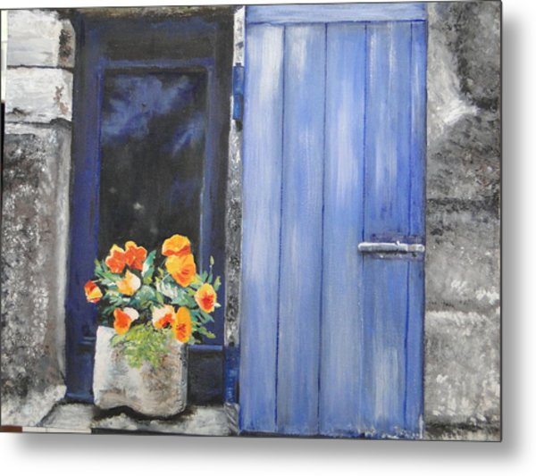 Poppies On The Windowsill Metal Print by Cindy Plutnicki
