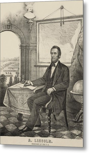 Popular Print Of President Lincoln Made Metal Print by Everett