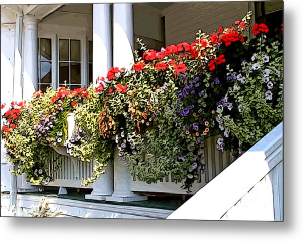 Porch Flowers Metal Print